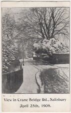Crane Bridge Road Salisbury, April 25th 1908 Snow Postcard B838