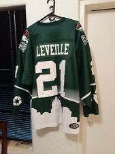Vtg CHARLOTTE CHECKERS GAME WORN fight strap leveille autograph HOCKEY JERSEY