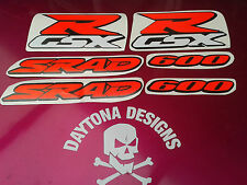 GSXR SRAD 600 CUSTOM SET OF DAYGLOW RED GRAPHICS DECALS STICKERS