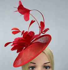 STUNNING RED SINAMAY FASCINATOR WITH MATCHING FEATHERS ON HEADBAND SPRING RACING