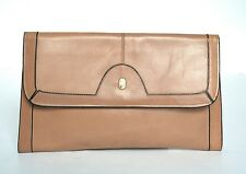 Vintage Leather Clutch Bag - Light tan brown / nude  leather - 1980s - Small