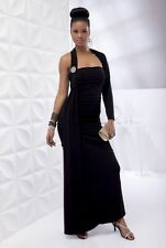 Women's Black Plus-Size Single Sleeve Evening Gown Draped Ruched Size 20