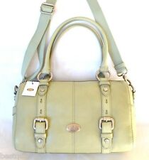 NEW FOSSIL MADDOX LIGHT SAGE LEATHER SATCHEL,CROSSBODY,HAND+SHOULDER BAG,PURSE