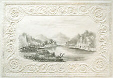LOVELY ORIGINAL ANTIQUE ORIENTAL LANDSCAPE PENCIL DRAWING