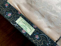 Vintage Boxed PEACH Irish RAYON Damask Tablecloth 6 Napkins 52x70 Inches 14x13