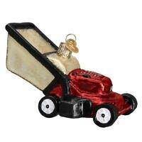 RED LAWN MOWER OLD WORLD CHRISTMAS GLASS LANDSCAPING GARDENER ORNAMENT NWT 32321