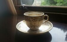 Bone China Tea Cup & Saucer Ornate White and Gold Scroll Design Numbered 2431