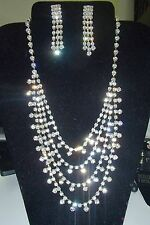 B553  BEAUTIFUL TRIPLE STRAND EARRINGS AND 4 STRAND RHINESTONE NECKLACE Prom