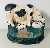 Vintage Cast Iron Gloucestershire Old Spots Spotted Pig Piglet Door Stop Farm