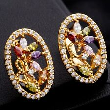 Gift Box Package Multi-Color C.Z Gold Plated Flower Oval Big Size Hoop Earrings