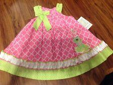 "NEW Bonnie Jean Girls ""PINK & LIME FROG CUTIE"" Size 2T Trapeze Poplin Dress NWT"