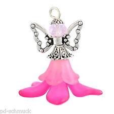 5 Perlenengel Schutzengel Anhänger Gastgeschenk Hochzeit/Taufe Fuchsie
