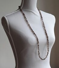 "SMOKEY QUARTZ LONG LINE NECKLACE 37"" LENGTH BROWN COLOUR"