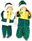 Vintage Christmas Caroler Dolls Boy Girl  Crushed Green Velvet Santa Outfits