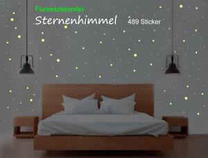 Wandtattoo Sternenhimmel 489 Punkte und Sterne Aufkleber Sticker fluoreszierend