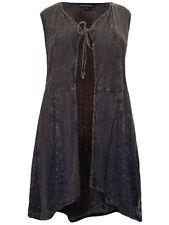 Tie Hip Length Plus Size Waistcoats for Women
