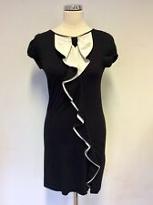 TED BAKER BLACK & WHITE FRILL TRIM STRETCH PENCIL DRESS SIZE 2 UK 10/12