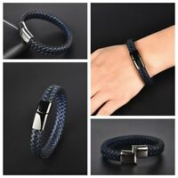 New Braided Leather Bracelet Men Stainless Steel Magnetic Clasp Jewelry Gift