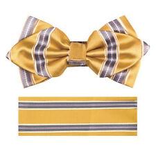 New in box formal Men's Diamond Shape Pre-tied Bow Tie & Hankie yellow gray