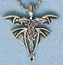 DOUBLE DRAGON PEWTER PENDANT MENS WOMANS BOYS GIRLS GOTHIC NECKLACE CHAIN PC0064