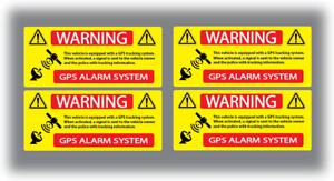 4 x Alarm Warning GPS Stickers 80mm X 35mm Vinyl Decals Yellow VAN HGV Car Bike