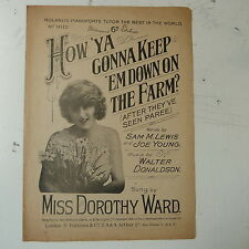 songsheet HOW YA GONNA KEEP EM DOWN ON THE FARM dorothy ward 1919