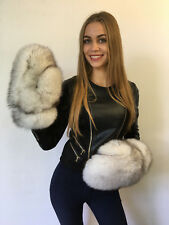 Saga Blue Fox Fox Fur Mittens Full Fur Winter Gloves Natural White
