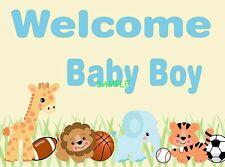 Welcome Baby Boy Animals Shower Edible Cake Topper Frosting Icing 1/4 Sheet