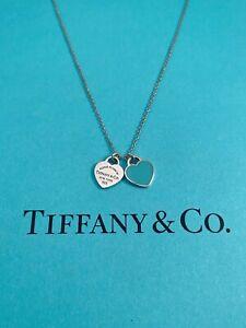 "Tiffany & Co Mini Double Blue Enamel Heart Tag Pendant Necklace 17"" RRP $300"