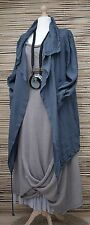 LAGENLOOK LINEN BEAUTIFUL WATERFALL 2 POCKETS JACKET**NAVY BLUE**BUST UP TO 50""