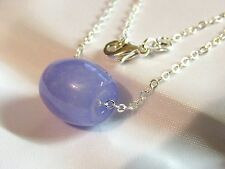 NATURAL LAVENDER Jade Chinese Lucky Barrel Pendant Sterling Silver Necklace