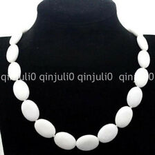 """Natural 13x18mm White Jade Oval Gemstone Necklace 18"""" JN1287"""