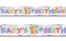 "12ft ""Baby's 1st Birthday"" Party Celebration Foil Wall Banner Deco boy or girl"