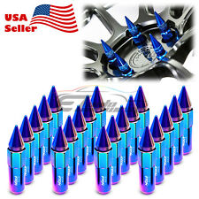 Neo Chrome 20 Pcs M12x1.25 Lug Nuts Spiked Extended Tuner Aluminum Wheels Rims