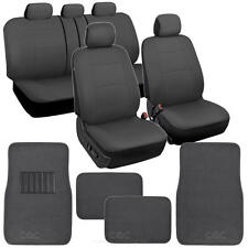 Car Seat Covers Set All Gray w/ Carpet Padded Floor Mats Auto Interior Grey