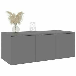 Small TV Unit Grey Stand 3 Drawer Cabinet Sideboard Lowboard Modern Storage
