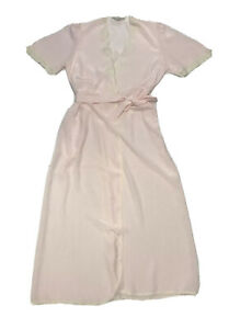 Vintage Collection Sleepwear Pale Pink Lace Detail Robe Nightgown Size 16