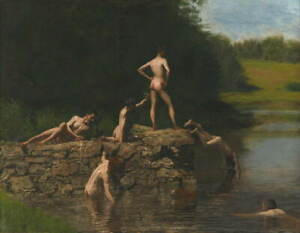 Thomas Eakins Swimming Poster Reproduction Paintings Giclee Canvas Print