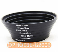 49-52-55-58-62-67-72-77 mm lens filter Step Up Ring Set