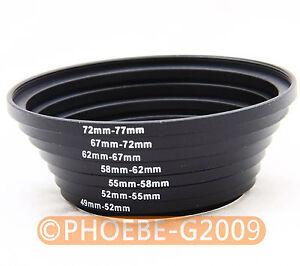 49-52-55-58-62-67-72-77 mm lens filter Step Up Ring Set