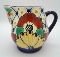 "Signed Vintage Talavera Ceramic Coffee Creamer Pitcher Garay Mexico  4"" H"