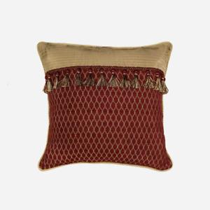 Croscill Home Roena  One EURO Pillow Sham Burgundy/Gold Tassels $100 NEW
