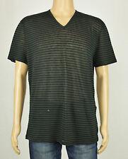 John Varvatos Luxe Mens Green-Black Striped Linen & Cotton T-Shirt XL