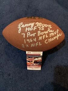 Lenny Moore Signed Stat Football, JSA, 4 Inscriptions Baltimore Colts