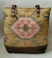 Kilim Leather canvas Southwest tote purse bag upcycled vintage rug style tribal