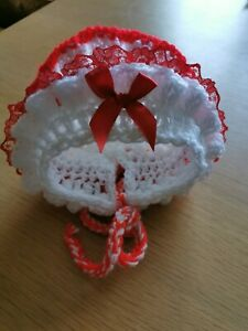 3-6 months Baby Girl Red & White Crochet Bonnet with Red frill & Red bow