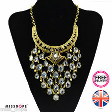 NEW GOLD CRYSTAL PEAR DROP STATEMENT NECKLACE CHOKER INDIAN AZTEC WOMENS LADIES
