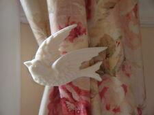 Shabby & Chic Bird Curtain Drapery Tiebacks w Acanthus Leaf Wall Plate Pair L/R