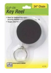 """Hy-Ko KC189 Key Reel Clip, Retractable, Black With 24"""" Chain"""