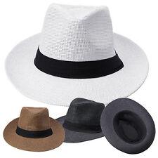 NE _ UOMO DONNA NASTRO Cappello spiaggia estiva SOLE TOPEE paglia Panama